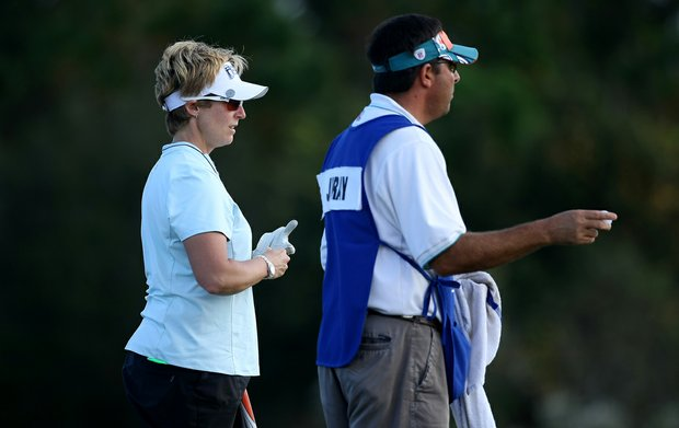 Nicole Jeray with her caddie at No. 17 during the final round of LPGA Q-school.