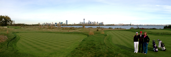 The par-3 14th signature hole at Liberty National.
