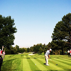 Michael Weaver tees off of No. 10 during the U.S. Amateur Championship at Cherry Hills Country Club.