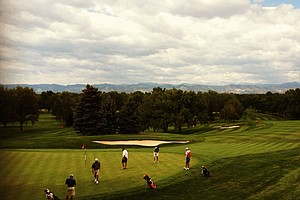 A view of No. 9 green from the Cherry Hills club house.