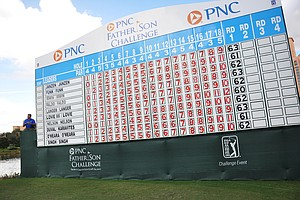 The leaderboard at the back of No. 18 during the first round of the Father/Son Challenge at the Ritz-Carlton Golf Club in Orlando.