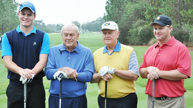 Will Wears, Arnold Palmer, Jack Nicklaus and Gary Nicklaus Arnold Palmer at No. 1 during the first round of the Father/Son Challenge at the Ritz-Carlton Golf Club in Orlando.