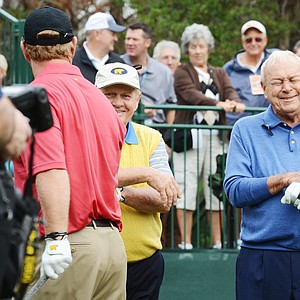 Jack Nicklaus (left) and Arnold Palmer share a laugh before teeing off on No. 1 during the first round of the Father/Son Challenge at the Ritz-Carlton Golf Club in Orlando.