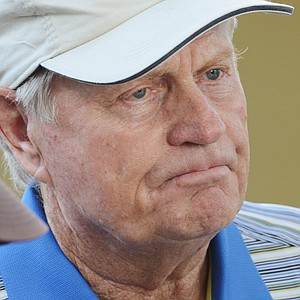 Jack Nicklaus off the back of the 18th green at the Father/Son Challenge at the Ritz-Carlton Golf Club in Orlando.