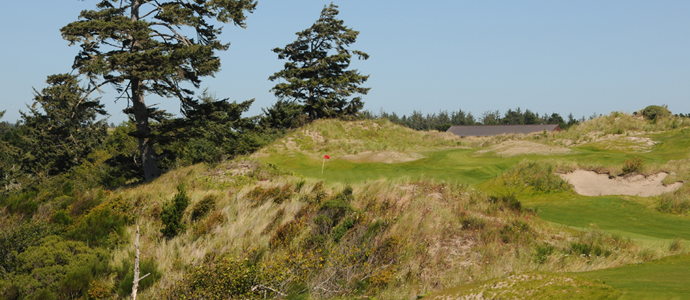 The tee shot at the 11th hole at Bandon Dunes.