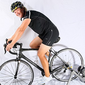 Suzann Pettersen sporting her cycling clothes and showing off her newest hobby cycling.
