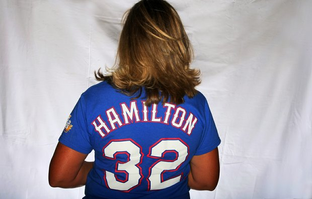 Angela Stanford has a strong love for her favorite baseball team the Texas Rangers and former player Josh Hamilton, now with the Los Angeles Angels.