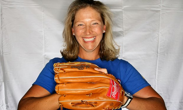 Angela Stanford with one of her off course loves, baseball and the Texas Rangers.