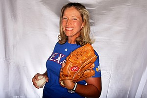 Angela Stanford, A Texan through and through, shows her love of the Texas Rangers.