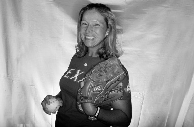 Angela Stanford photographed early in the year at Kraft Nabisco in Palm Springs, occasionally brings her baseball glove on the road.