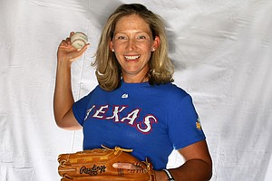 Angela Stanford a graduate of TCU shows her love of Texas Rangers.
