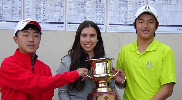 From left, Sam Jung, Maria Alejandra Villalobos and Robin Wang after winning their respective divisions of the CJGA World Junior Challenge at Innisbrook.