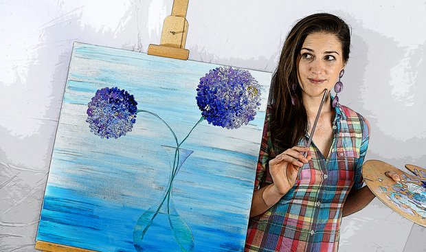 Sandra Gal and her hobby of painting.