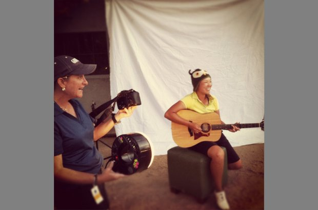 An Instagram picture of Tiffany Joh and Golfweek Photographer Tracy Wilcox during a photo shoot at The Founder's Cup.