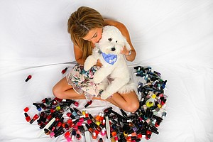 Paula Creamer with her constant companion, Studley. He is the most important of her off course hobbies.