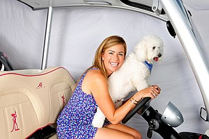 Studley and Paula at her home in Orlando, Fla. Studley is one of Paula's off course hobbies.