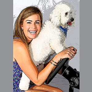 Paula Creamer and Studley at home in Orlando, Fla.