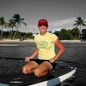 Stacy Lewis works on her paddle boarding skills in the Jupiter, Fla. area.