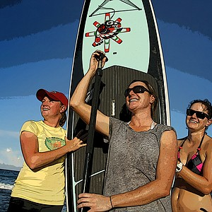 Stacy Lewis and her newest hobby of paddle boarding.