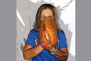 Angela Stanford showing her off course love of the Texas Rangers.