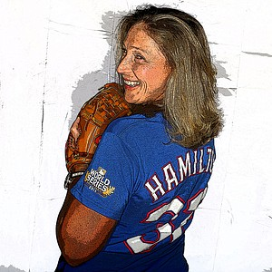 Angela Stanford with her off course hobby....the love of the Texas Rangers.