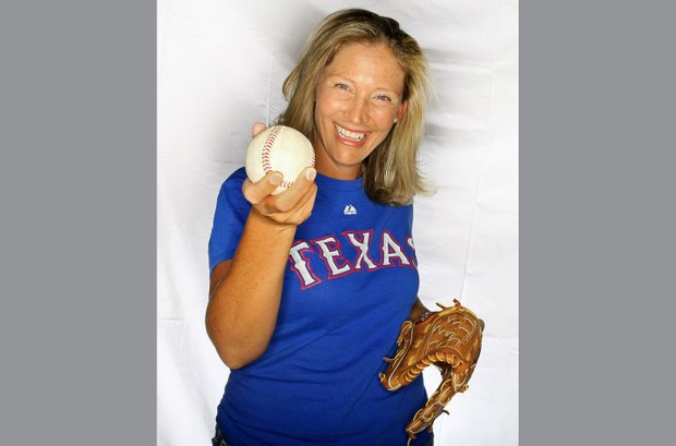 Angela Stanford photographed at Kraft Nabisco earlier in the year shows her love for baseball and the Texas Rangers.