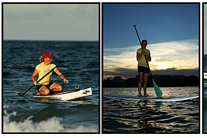 Stacy Lewis showing her joy for paddle boarding an off course hobby.