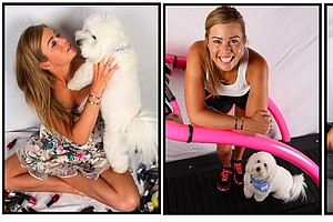 Paula Creamer and favorite off course hobby, her dog Studley.