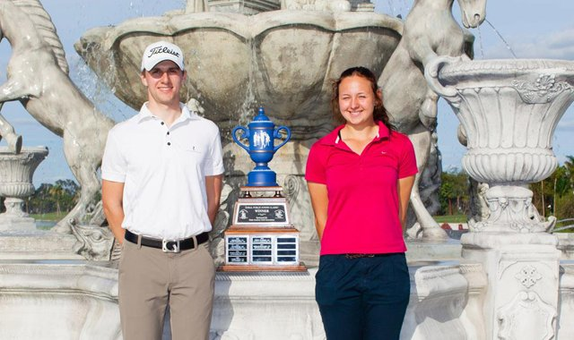 Alexander Matlari of Germany and Emily Pedersen of Denmark pose with the trophy after winning the 2012 Doral-Publix Junior Golf Classic on Dec. 23.