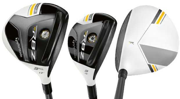 The TaylorMade Rocketballz Stage 2 fairway wood (left), rescue wood (center) and fairway wood at address (right).