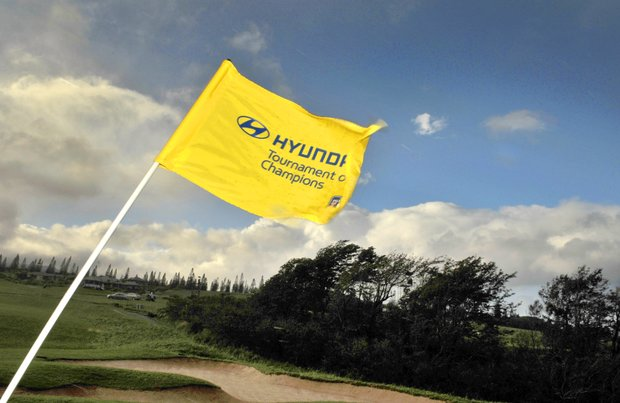 A pin flag blows in the wind on the 11th hole before the attempted replay of the first round of the Hyundai Tournament of Champions on Saturday.