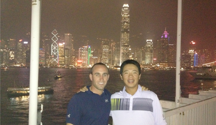 Andy Zhang and his caddie Christopher Gold in Hong Kong.