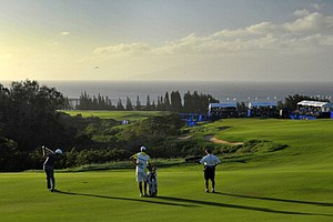 Take a look at this view as Dustin Johnson hits to the 18th green during the second round of the Hyundai Tournament of Champions at Plantation Course at Kapalua.
