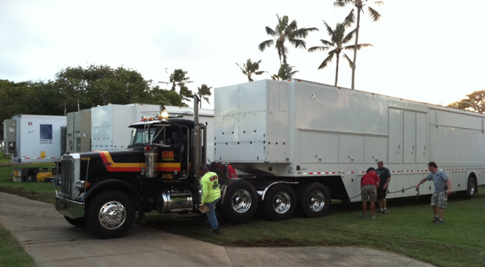 Production trucks are loaded in preparation for TGC to make the transition from the Hyundai TOC to the Sony Open in less than 36 hours.