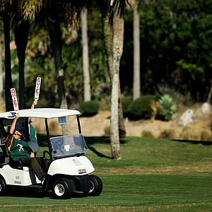 Volunteers in the 7th fairway at the 87th South Atlantic Amateur at Oceanside Country Club.