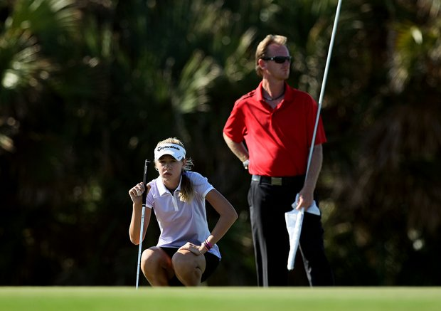 Nelly Korda looks over her putt at the 87th South Atlantic Amateur at Oceanside Country Club.