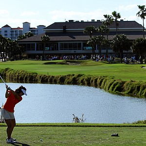 Kelly Shon tees off at No. 9 during the 87th South Atlantic Amateur at Oceanside Country Club.