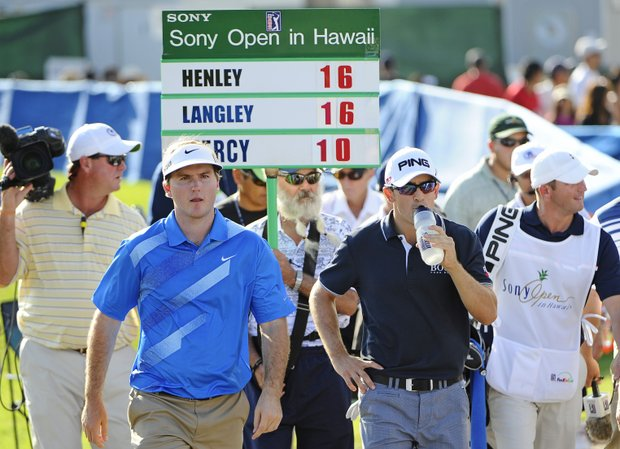 Russell Henley and Scott Langley walk to the 12th tee during the third round of the Sony Open.