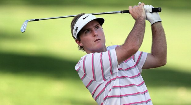 Russell Henley hits his second shot on the 15th hole during the second round of the Sony Open.