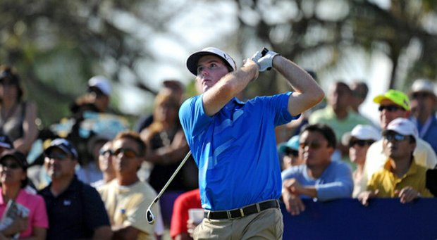 Russell Henley hits a tee shot on the 11th hole during the third round of the Sony Open in Hawaii.