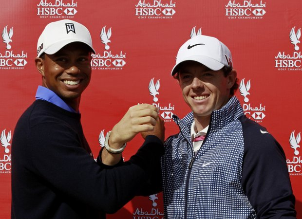 World No. 1 Rory McIlroy (right) and Tiger Woods make a toast during a photoshoot ahead of the 20th Abu Dhabi Golf Championship.