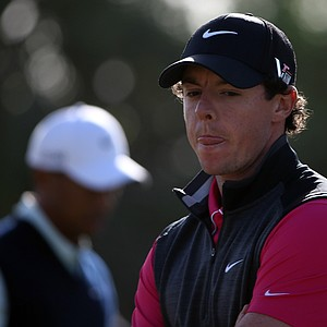 Rory McIlroy on the 16th green during the first round of the Abu Dhabi HSBC Golf Championship.