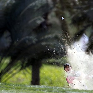 Rory McIlroy plays a shot during the first round of the Abu Dhabi Golf Championship.