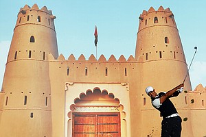 Tiger Woods plays a shot during the first round of the Abu Dhabi Golf Championship.