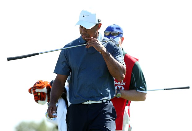 Tiger Woods looks dejected during the second round of The Abu Dhabi HSBC Golf Championship.