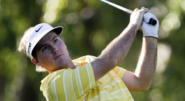 Russell Henley watches his tee shot on the second hole during the second round of the Humana Challenge golf tournament on the Palmer Private course at PGA West in La Quinta, Calif. Friday, Jan. 18, 2013.