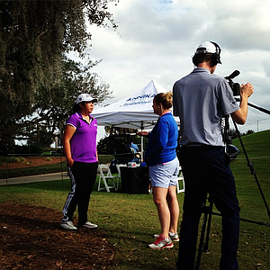 First and second round leader Bethany Wu gets interviewed by the AJGA staff.