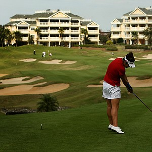 Amy Lee hits her tee shot at No. 11 during the Annika Invitational at Reunion Resort. Lee finished T8.