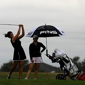 Maria Torres and Danielle Lee at No. 11 during the Annika Invitational at Reunion Resort.