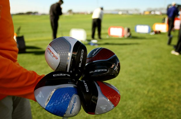 "Men's Cobra drivers with ""My Fly"" technology, which allows players to adjust the club's loft, are offered in four colors. The clubs were on display at the PGA Show Demo Day at Orange County National."